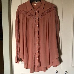 Free People NWT $108. Crochet Accents Boho Top